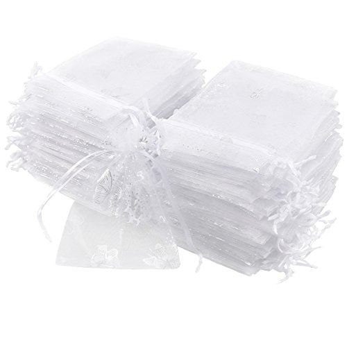CLE DE TOUS - 100pcs Bolsa de Organza para decorar regalo de boda bautizo Bolsitas de organza Blanca con mariposa plateado Wedding Favour Gift Jewellery Tie Bags