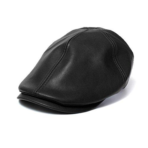 Amlaiworld_Gorras de Cuero Vintage Beret de Hombre Mujer Sombrero Plano Niños niñas Viseras Unisex Boina Sombrero (Negro)