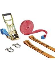 Slackstar SL81798-15 Super Guide - Kit para práctica de slackline (35 mm x 15 m, 6 piezas)