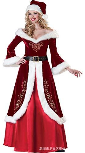 SDLRYF Babbo Natale Vestito Costume di Natale Gonna Femmina Adulta Santa Claus Christmas Party Riunione Annuale Costume Stadio,L