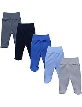 MEA BABY Unisex Baby Hose mit Fuß aus 100% Baumwolle im 5er Pack. Baby Stramplerhose mit Fuß. Babyhose mit Fuß...