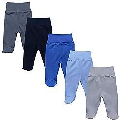 MEA BABY Unisex Baby Hose mit Fuß aus 100% Baumwolle im 5er Pack. Baby Stramplerhose mit Fuß. Babyhose mit Fuß Jungen Baby Hose mit Fuß Mädchen., 68 cm, Jungen