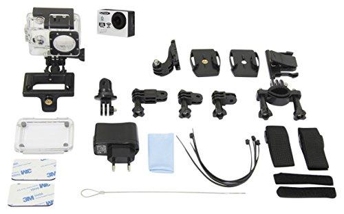 Jamara 177891 Camara Full HD Pro WiFi V2 weiß - 16MP, 1080p, 170° Weitwinkel, wasserdicht bis 30m, 2 Zoll LCD-Display, Foto/Video Funktion per Smartphone steuern, inkl. sämtlichen Halterungen