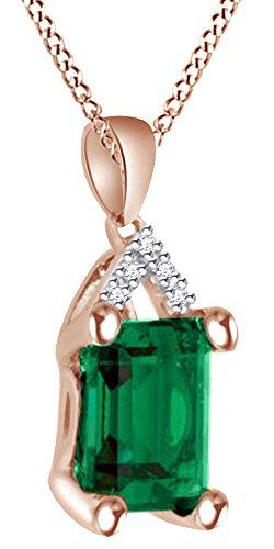 AFFY Herren Damen Unisex Kinder - Gold 9 Karat (375) 10-Karat-Rotgold Smaragdschliff Smaragd