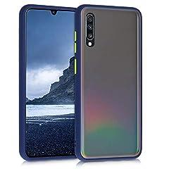 kwmobile Samsung Galaxy A70 Bumper Hülle - Kunststoff Backcover Schutzhülle mit TPU Silikon Bumper in Blau Matt Transparent