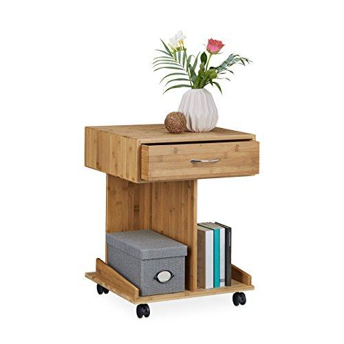 Relaxdays Beistelltisch mit Rollen ROLLI Bambus, Schublade - 2 Ablagen für Bücher