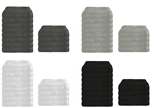 Frottier Handtuch 4er oder 8er Sparpack in 4 modernen Farben, Frottee 4x Handtücher 50x100 cm Schwarz