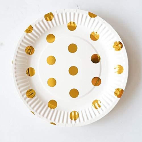JINSEQ Partygeschirr Gold Streifen Serie Einweggeschirr Pappteller Tassen Strohhalme Geburtstagsfeier Dekorationen Kinder Erwachsene Hochzeit Partei Liefert, Q21,10Pcs