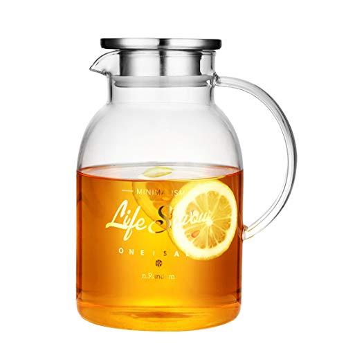 Oneisall Teekanne aus klarem Glas, hitzebeständig, mit Edelstahldeckel, Handarbeit, Wasserkrug mit Blumen-Motiv, Kaffeekanne, Glaskessel 2200ml - Infundiert Alkohol