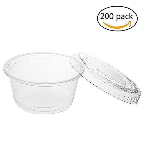(SoEasy 200Pack 1Oz Jello Shot Mini klar Kunststoff Tumbler Becher mit Deckel für Dips, Souffle, Restaurants, Party Supplies)
