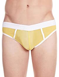 La Intimo Men's Nylon Spandex Power Net Bikini (LIMB003YWY_Yellow_Large(32-34Inch))