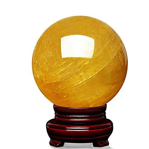 Natürliche gelbe poliert poliert Kristallkugel der Hilfe zu schaffen Reichtum (Basis senden) , select a diameter of 15 cm - Fragment-sammlung