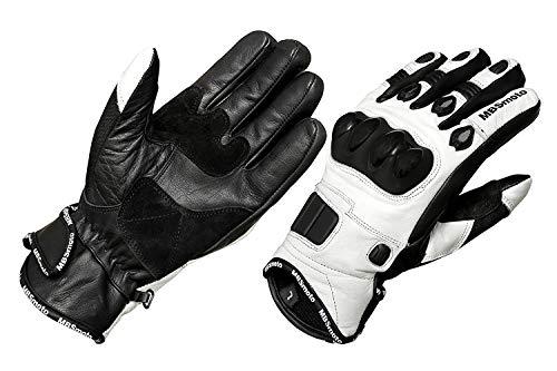 MBSmoto - Guanti protettivi in Pelle per Moto, Bianco, 3XL