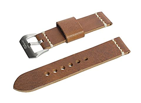 20mm Antique Tan Full Thickness Italian Leather Watch Band with Satin Finished Stainless Steel Buckle