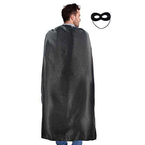 Männer & Frauen Superheld umhang oder Mantel Jede Farbe + Maske Party Kostüme (Schwarz) (Schwarze Superhelden Kostüm Männer)