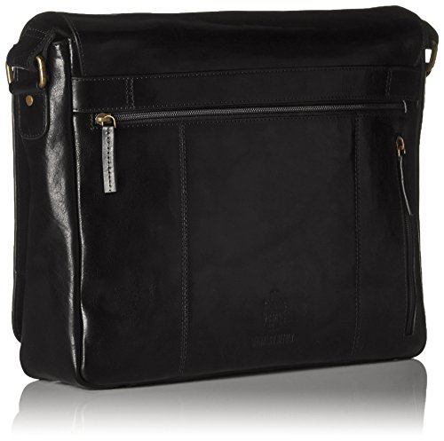 Leonhard Heyden Cambridge Sac bandoulière L cuir 40 cm compartiment ordinateur portable noir