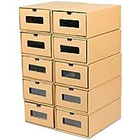 fuluomei FLM Cajas de Almacenaje Plegable - Pack de 10 Cajas de Zapatos Transparente Apilable para Hombre y Mujer,30 x 21 x 12 cm