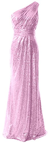 MACloth Women One Shoulder Sequin Long Prom Dress 2017 Formal Party Evening Gown Rosa