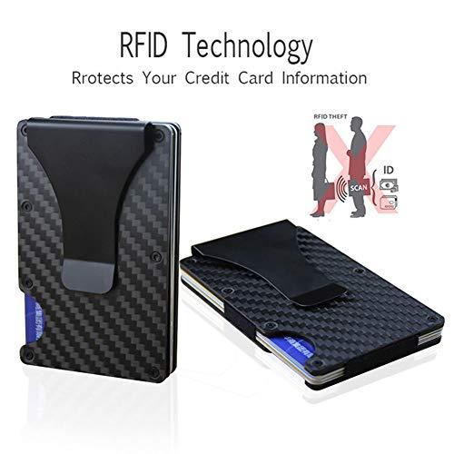 Estilo: moderno.    2. Color: negro.    Tamaño: 8,6 x 5,4 cm.    5. Tipo: cartera con bloqueo RFID.    El paquete incluye: 1 cartera.