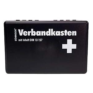Söhngen Kiel KU Verbandskasten (mit Füllung, schwarz, Koffer aus ABS Kunststoff) 260x160x80 mm, 3003003