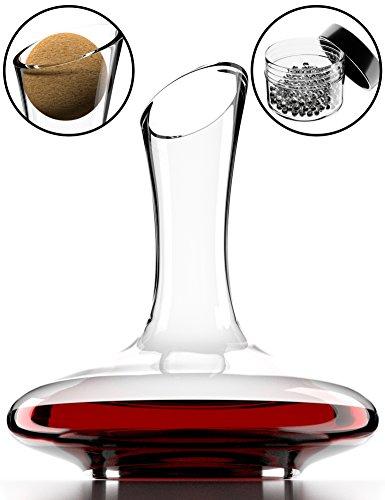 Decanter per vino con accessori (tappo di sughero + perlina per pulizia) - caraffa di cristallo 100% senza piombo - aeratore decantatore per rosso - regalo originale casa nuova, compleanno, matriminio