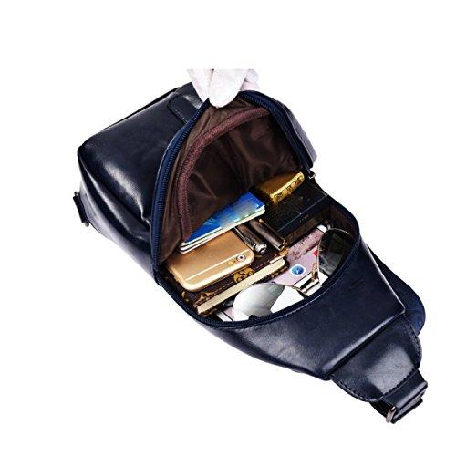 LAIDAYE Männer Casual Schulter Umhängetasche Business-Paket Schultertasche Tasche Brust Brown