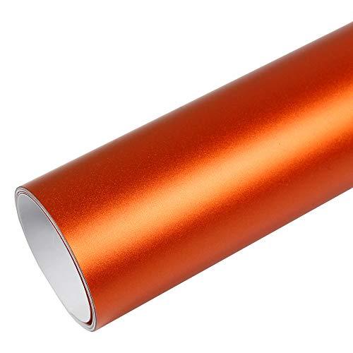 Rapid Teck® PREMIUM - MATT CHROM Orange 50cm x 1,52m Auto Folie Blasenfrei mit Luftkanälen für Auto Folierung und 3D bekleben in Matt Glanz und Carbon