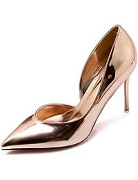 Xue Qiqi Astuce High heels chaussures de mariage fille couleur champagne style fin et léger chaussures fille banquet,36, couleur champagne