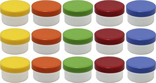 15 Salbendöschen, Creme-döschen, Salbenkruken flach, 60ml Inhalt mit farbigen Deckeln - MADE IN GERMANY
