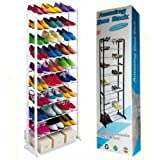 #4: Diswa High Quality New In Box Amazing Shoe Rack Stand Holds APPROX 30 Pairs of Shoes with 10 layers Portable Foldable (White)