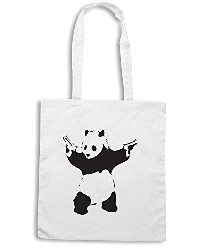 T-Shirtshock - Borsa Shopping FUN0692 banksy panda wht mens cu (2) Bianco