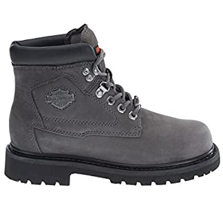 Harley Davidson BAYPORT Ladies Leather Lace Up Ankle Boots Grey 1