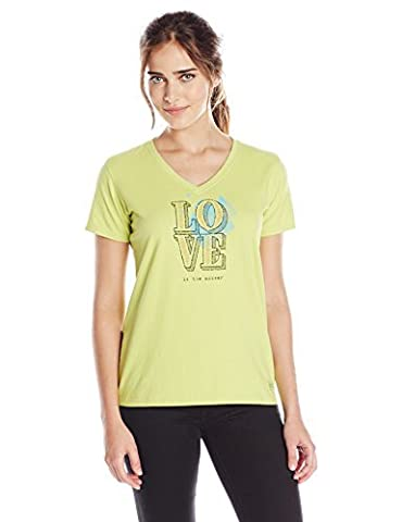 Life is good Women's Crusher Vee Love Is the Answer Tee, Chartreuse Green, Small by Life is Good