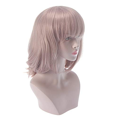LL Perücke Frauen Perücke Mode Medium Lange Haare mit Pony Hohe Temperatur Seide Realistische Lavendel Cosplay Curling Haare ()