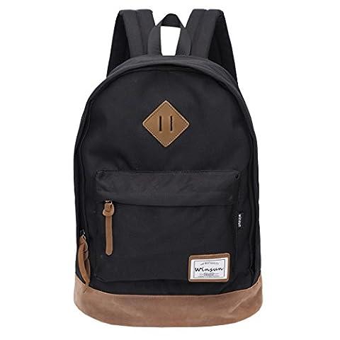 Rucksack Schwarz Schulrucksack Jugendliche Backpack Rucksäcke mit Laptopfach für Camping