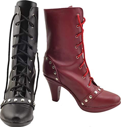 Harley Quinn Stiefel Kostüm - GSFDHDJS Cosplay Stiefel Schuhe for Batman Suicide Squad Harley Quinn Black red