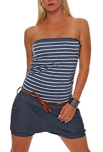 Malito Damen Einteiler kurz im Marine Design | Overall mit Gürtel | Jumpsuit im Jeans Look | Romper - Playsuit 9646 (Jeansblau)