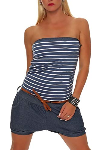 Malito Damen Einteiler kurz im Marine Design | Overall mit Gürtel | Jumpsuit im Jeans Look | Romper - Playsuit 9646 (Jeansblau) Jeans Kleid