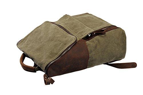 YAAGLE Damen und Herren Unisex Canvas Segeltuch Taschen Freizeit Retrotasche Handtasche Gepäck schicke Rucksack-kaffee grün