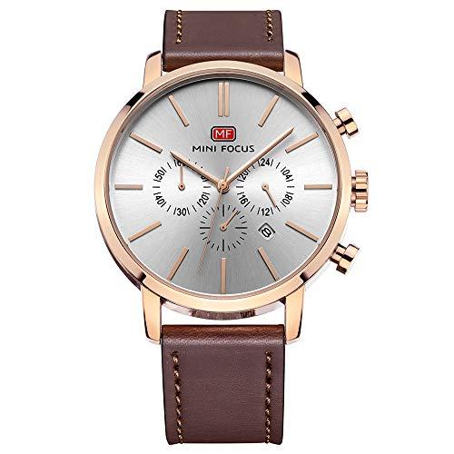 (QRMH Herren Faux Lederuhr Einfache Mode-Armband-Uhr Kalender Wasserdichter Multifunktionschronograph Schwarz Und Rosengold,Rosegold)