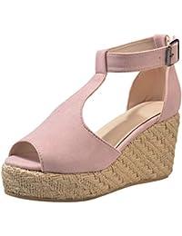 Modaworld Sandalias Mujer Verano 2019 Tallas Grandes Moda Sandalias de cuña de Verano de Mujeres Sandalia con Hebilla y Boca de pez señoras Zapatos de Playa niña Calzado 35-43