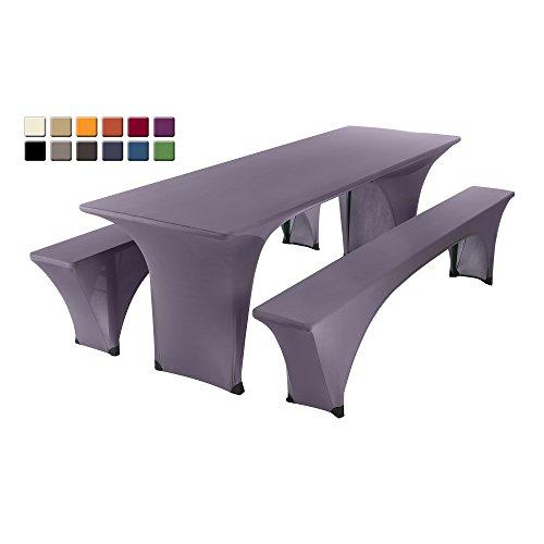 SCHEFFLER-HOME Max Bierzelt-Garnitur 3tlg. Set für Tisch und Bänke Stretch-Hussen 70x220 cm, Stretch-Bezug bi-elastische Husse,...