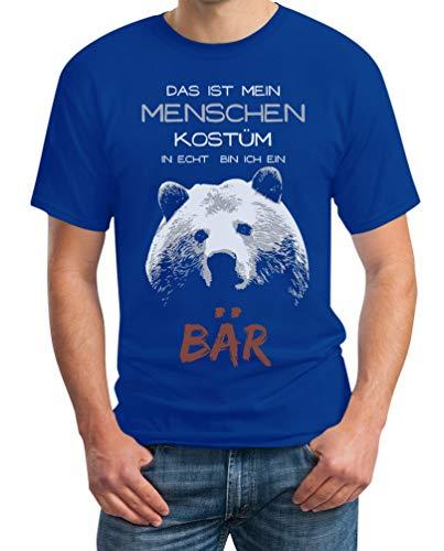 Bär Blau Kostüm - Menschen Kostüm in echt Bin ich EIN Bär Karneval Kostüm Herren T-Shirt XXX-Large Blau