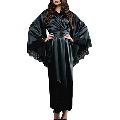 bluestercool_1 Langes Nachthemd mit lose Nähten, Frauen Sexy Spitze Satin Kimono Robe Bademantel Dessous Nachtwäsche Gürtel Pyjamas