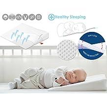 Almohada de cuña para bebés (antirreflujos, evita el síndrome de la cabeza plana,