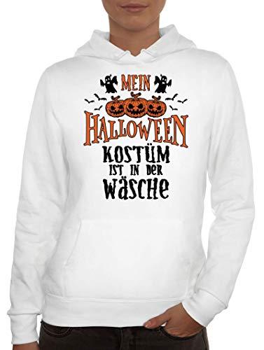 ShirtStreet Grusel Gruppen Damen Hoodie Frauen Kapuzenpullover Mein Halloween Kostüm ist in der Wäsche 2, Größe: M,Weiß (2 Von Gruppen Halloween-kostüme)