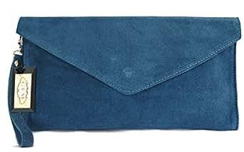 GFM Brand Italian Suede Large Envelope Shaped Clutch bag (#010-HLghnl)