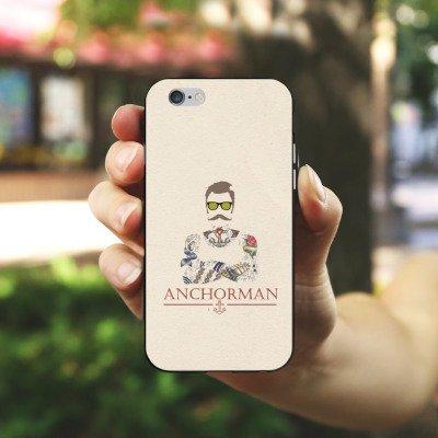 Apple iPhone 6 Plus Silikon Hülle Case Schutzhülle Schnurrbart Anchorman Tattoo Anker Silikon Case schwarz / weiß