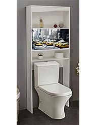 Meuble wc NewYork en bois avec 2 portes coulissantes, 63 x 23 x 175 cm -PEGANE-