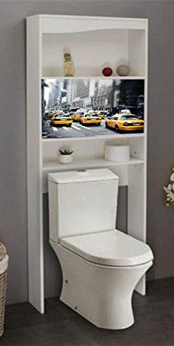 PEGANE Meuble WC Newyork en Bois 2 Portes coulissantes, 63 x 23 x 175 cm